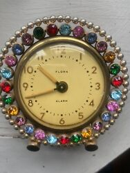 Vintage Linden Birthday Birthstone  Rhinestone Jeweled Gems Gemstone Alarm Clock