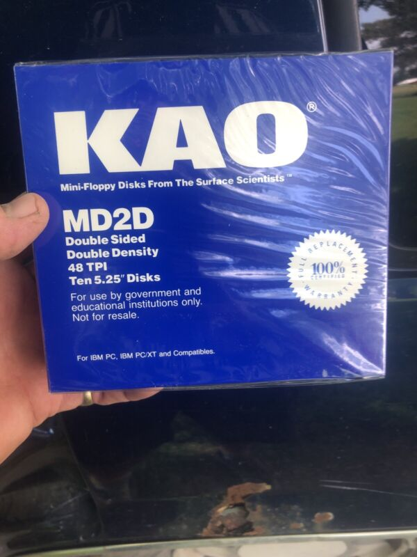 "KAO 5 1/4""(5.25"") NEW BLUE BOX 10 DSDD Disk Floppy for Atari 800/XL/XE Sealed"