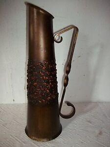 alt vase metall messing kupfer mit griff 43cm ebay. Black Bedroom Furniture Sets. Home Design Ideas