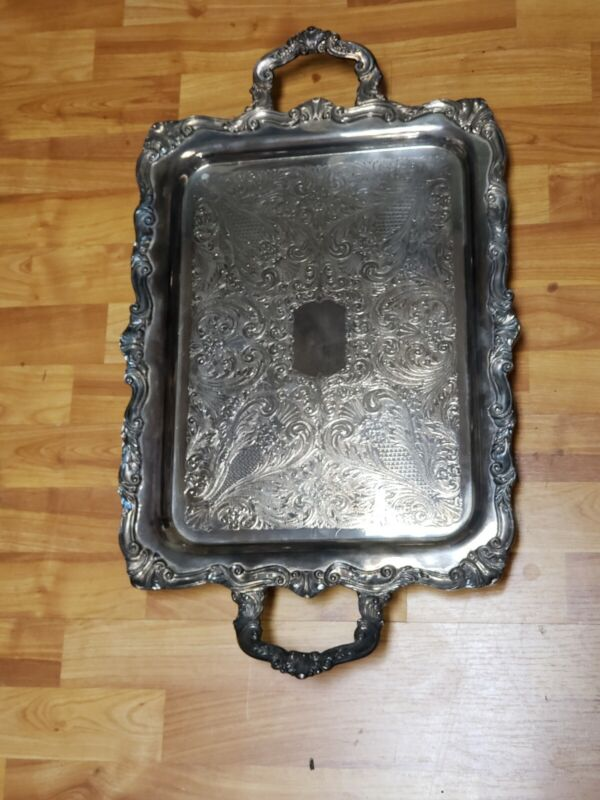 Vintage Large Sheridan Silver Plated Footed Handled Butler Serving Tray