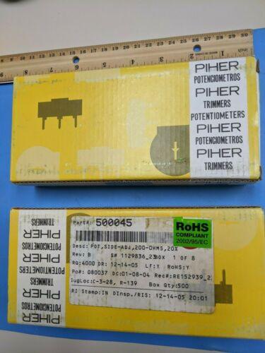 Trimmer Resistors, PTC10LH01-201A2020, Amphenol Piher, 200, ohms 10mm , 500 pcs
