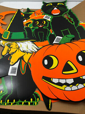 Vintage 1990 Beistle Halloween LARGE Cut Out Witch Black Cat Moon Lot of 24