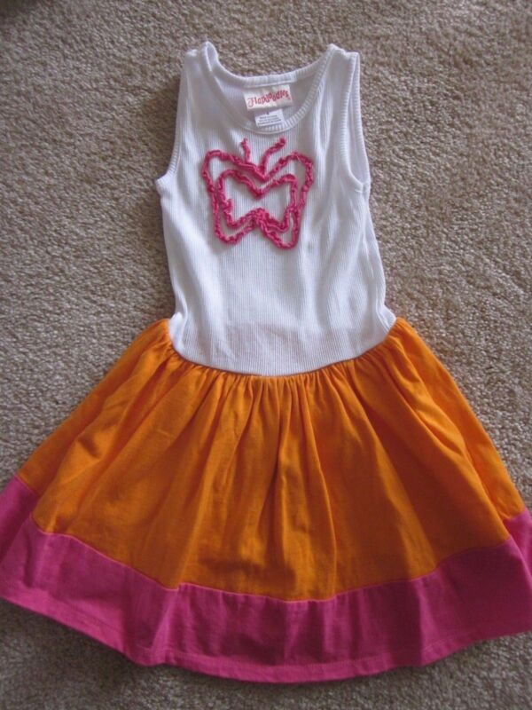 NEW FLAPDOODLES GIRLS DRESS  SIZE 4 TANK TOP STYLE ORANGE/PINK/WHITE Butterfly