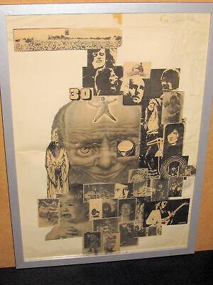 UNIQUE B&W ROCK COLLAGE, EARLY 1970s, ROD, BOWIE, McCARTNEY, CAT, MOTT, ASH, DYL