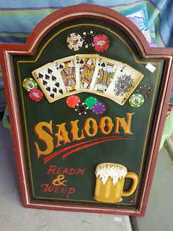 Saloon bar wooden sign.