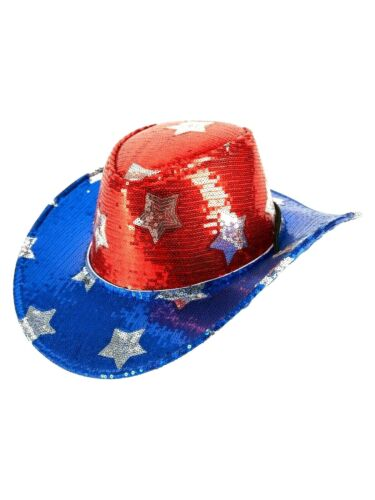 Patriotic 4th of July Sequin Cowboy Hat Stars Shiny Red Blue Brimmed American