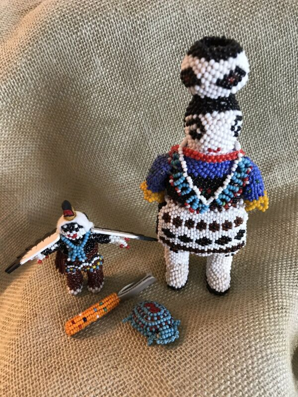 Vintage Zuni Native American beaded doll collection. Exquisite Bead Work.