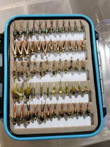 60  Top Bead Head Nymph Trout Flies w/box - Quality Trout Fly Box Assortment