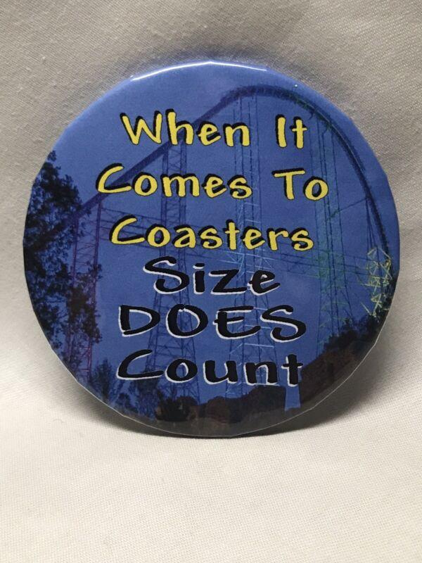 """2000 Millennium Force Size Counts 3"""" Button Pin Cedar Point Amusement Park Ohio"""