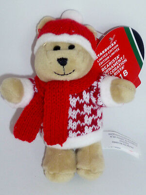 Starbucks Bear Ornament Christmas Holiday Boy Bearista Red Scarf & Hat 2018 New Boy Bear Holiday Ornament