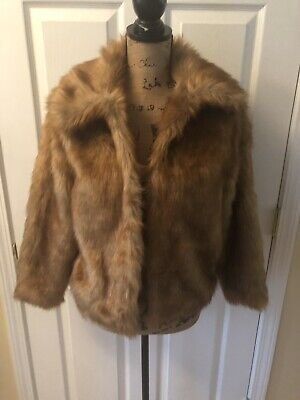 Abercrombie & Fitch Women's Vegan Fur Coat Jacket Brown Size Small