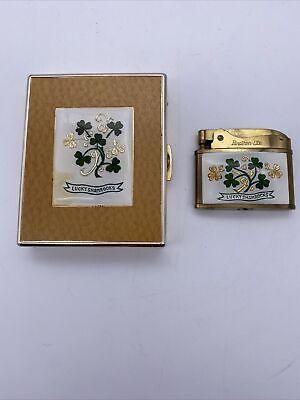 Vintage Lucky Shamrocks Brother-Lite Advertising Lighter & Eagle Cigarette Case