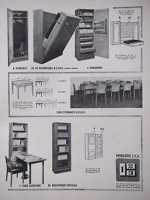 PublicitÉ de presse 1951 mobiliers 1.2.3 lit escamotable rangement - advertising