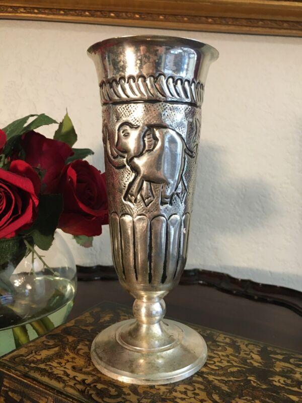 Vintage Arts & Crafts Silver Plate hand Hammered Vase Elephant & Palm Tree Decor
