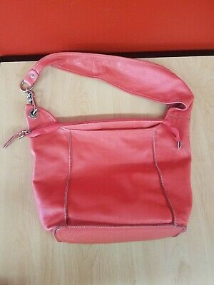 Brand New Innue Large Hobo Bucket Bag Purse Coral Genuine Leather Made in Italy