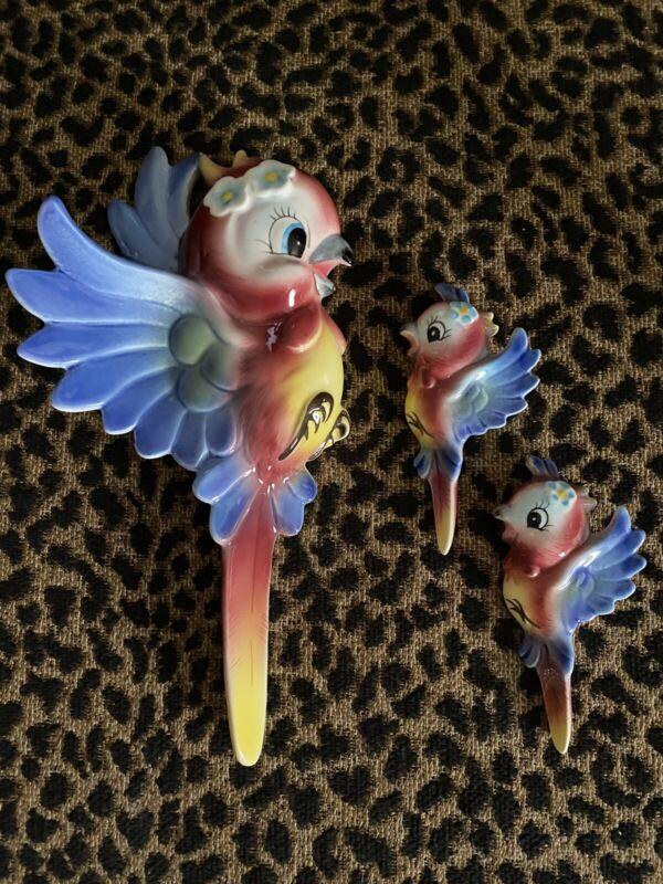 Vintage PY Ceramic Bird Parrot Mama with Babies Wall Hangings Set of 3 Japan