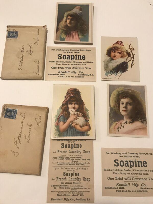 Soapine 49 Victorian Soap Trade Card Lot Girls Providence RI Original Mail Pack
