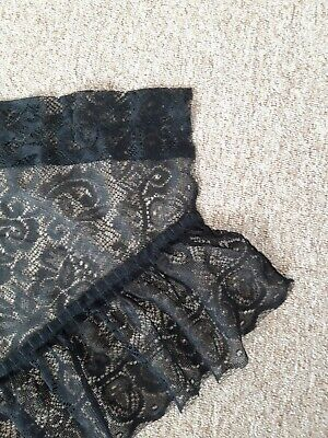Pair of Black Lace Window Net Curtains  for sale  Shipping to Ireland