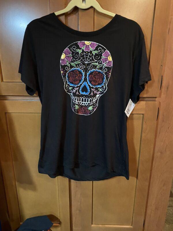 New!Never Worn!Celebrate! Halloween Skull T-Shirt.Size L(12-14)Great 4 Halloween