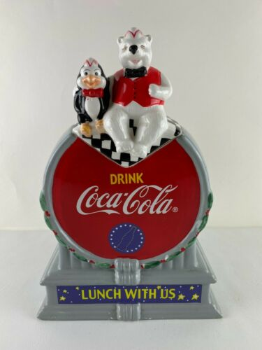 Coca-Cola Cookie Jar - Lunch With Us, Polar Bear & Penguin Sitting, Ceramic 2001