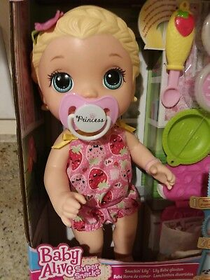 BABY ALIVE SNACKIN LILY SUPER SNACKS BLONDE NEW IN BOX SHIPS WORLDWIDE for sale  Placerville