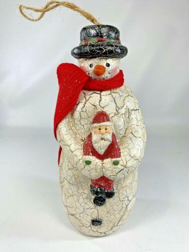 "Snowman Holding Santa Ornament Red Scarf Black Hat Crackled Glitter Finish 6"""