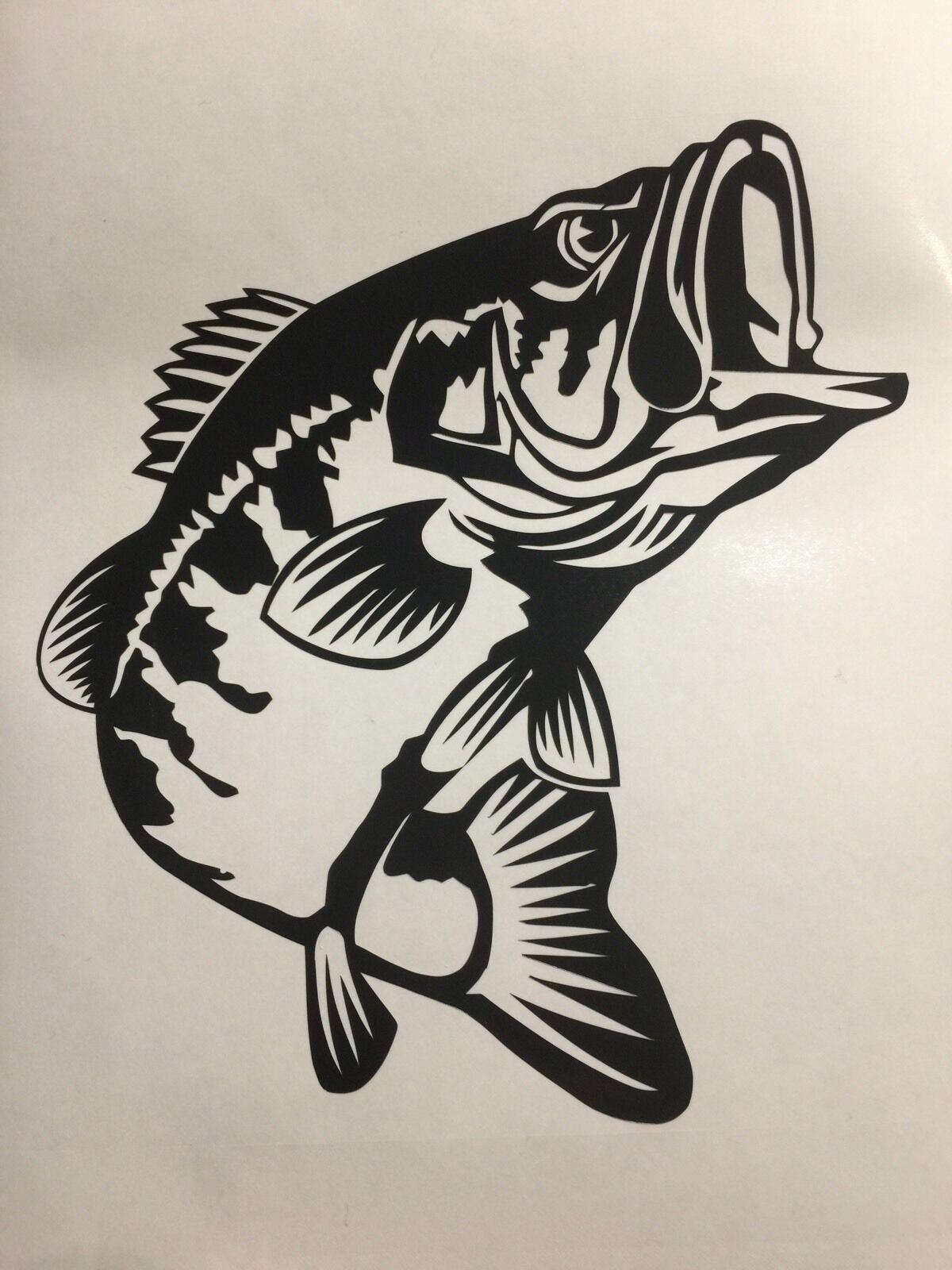 Bass Fishing Decal Sticker Vinyl Logo Lund Fishing Rod Bass