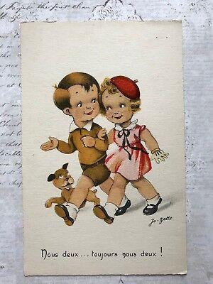 Children dog in art  Romance French Original Vintage Postcard