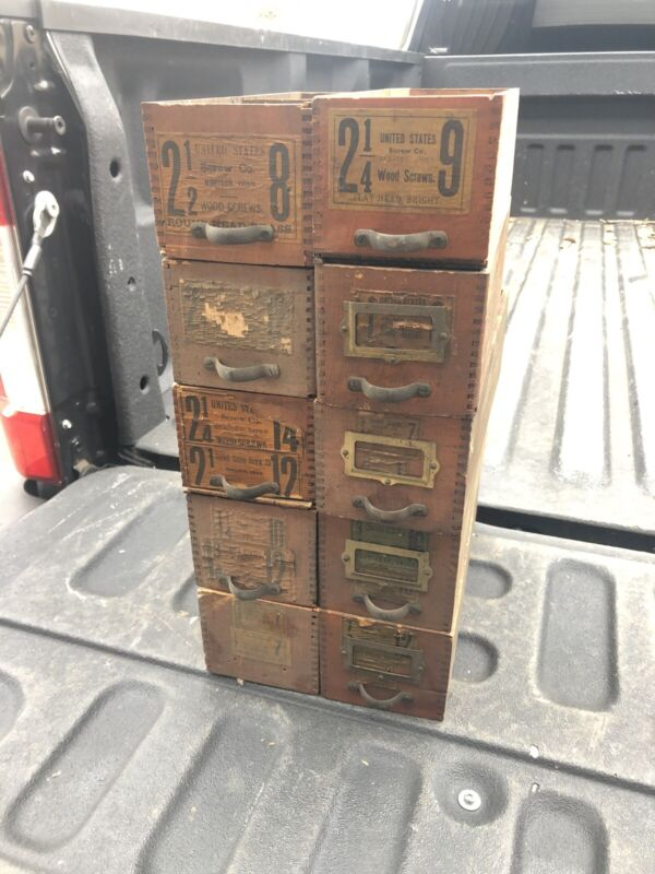 """lot of 10 vintage antique pine hardware store cabinet drawers 12 x 4"""" W x 3.5"""" H"""