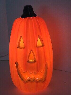 "Halloween Pumpkin Plastic Blow Mold Light Up Jack O Lantern, 11.5"" Tall."