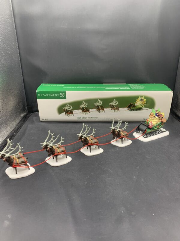 Department 56 North Pole Series Sleigh & Eight Tiny Reindeer #56111 Set of 5