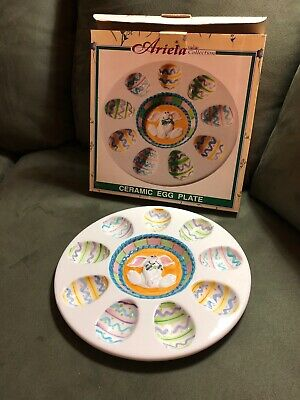 Ariela Collection by World Bazaar Easter Ceramic Egg Plate Holds 9 NWT