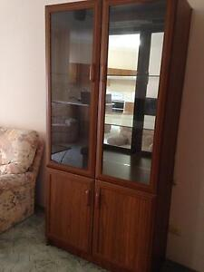 Glass mirror backed wooden cabinet Cronulla Sutherland Area Preview