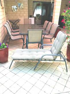 OUTDOOR FURNITURE   GLASS TABLE, 8 CHAIRS U0026 DRINKS TROLLEY $210 Part 98