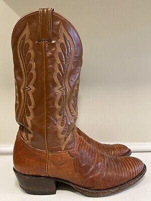Vintage Tony Lama Black Label Brown Exotic Lizard Cowboy Boots Men's Size 10.5 D Black Lizard Cowboy Boots