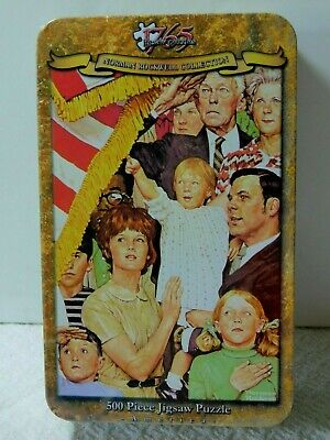 """Norman Rockwell Collection 500 Piece Jigsaw Puzzle """"Salute the Flag"""" New in Tin"""