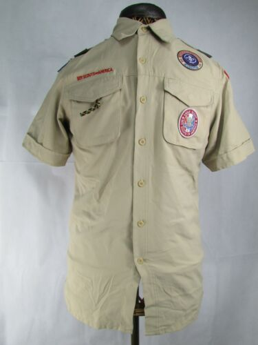 Vintage Boy Scouts Of America Uniform Collar Shirt Men's Small With Patches