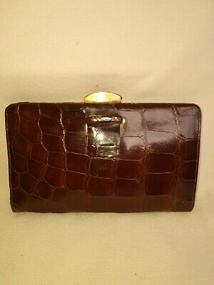1920s Handbags, Purses, and Shopping Bag Styles Frence vintage art deco 1930s glossy crocodile skin clutch handbag $165.84 AT vintagedancer.com