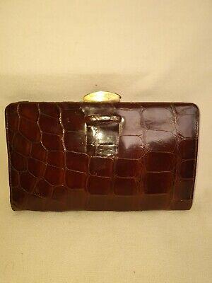 1920s Style Purses, Flapper Bags, Handbags Frence vintage art deco 1930s glossy crocodile skin clutch handbag $165.84 AT vintagedancer.com