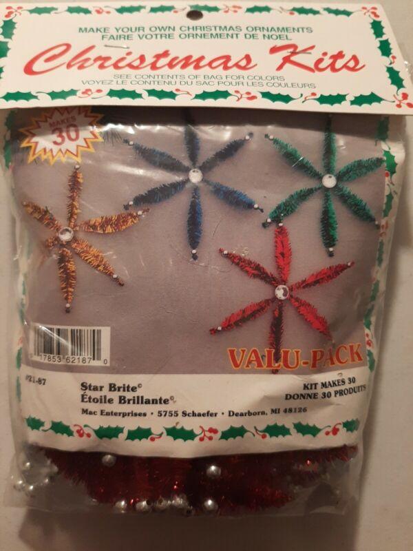 VTG Merri Mac Kit Beaded Star Bright Christmas Ornament 21-87 NOS Makes 30!