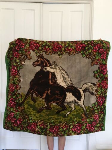 Antique Vtg Horse Hair Hide & Mane Wool Carriage Buggie Sleigh Blanket Wall Art