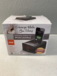 RCA Dual Alarm Clock Radio iPhone iPod Charge 30-Pin Docking + Lightning Adapter