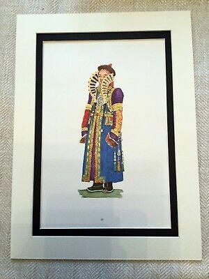 Vintage Kostüm Aufdruck Mongolische Mode Ethnisch Mongol Empire Asiatisch Kunst