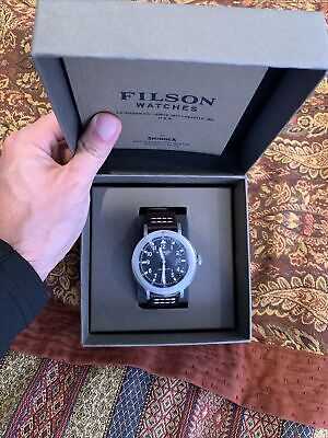 FILSON SHINOLA Watch Scout Black Face & Brown Leather Strap With Box Paperwork