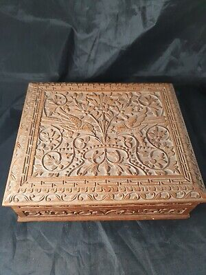 Intrinsic Bird Chinoiserie Style Carved Wooden Writing Slope Box