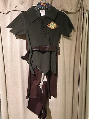 Disney Store Child Green Peter Pan Costume TOP/Pants Shoes With Belt Size - Peter Pan Top Kostüm