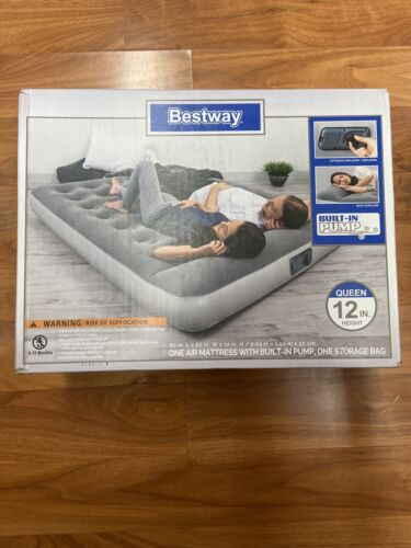 Bestway Queen Air Mattress with Built-in Pump, Soft-Top Pill