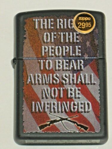 New US ZIPPO Lighter 76605 The Right of  People to Bear Arms Shall Not Infringed