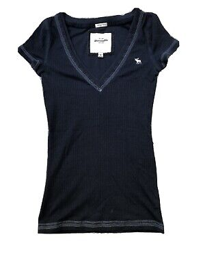 Abercrombie Navy Blue Women Girls Stretchy Short Sleeves T Shirt Small Medium