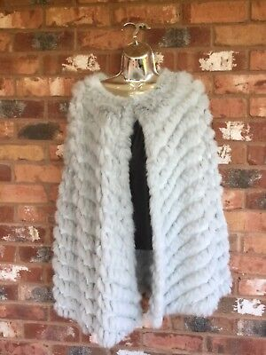 JayLey Coney Fur & Faux Suede Cape Pale Grey One Size RRP £140